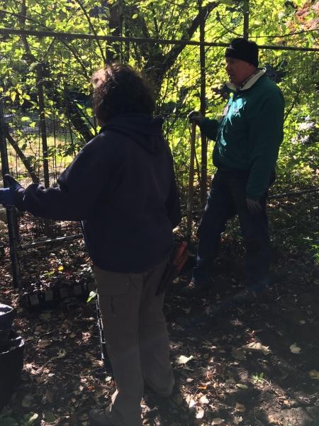 Ellen Forrester and- Bob Schram- confer about planting