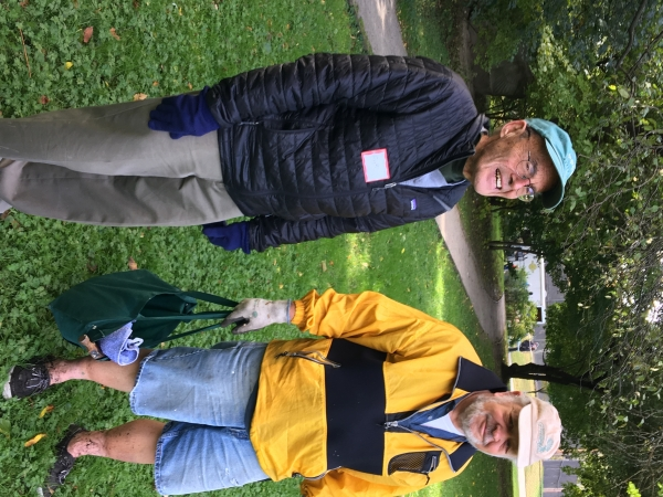 Frank Caro chats with Hugh Mattison of Brookline Greenspace Alliance