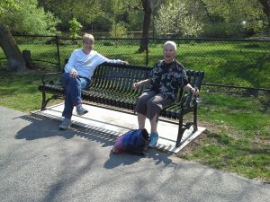 The bench was a gift to the Town by the Friends of Hall's Pond. The bench was installed very recently. The photo was taken on Thursday, May 12. Seated on the bench are Priscilla Smith and Betty Goldstein who are members of the volunteer maintenance team.