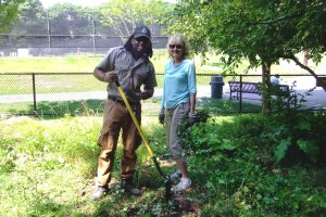At a recent maintenance session, Brookline Park Ranger Alex Cassie aids volunteer Janet Wynn in digging out invasive plants. Please join us next year if you can. Tools are provided, and no experience is necessary—just the desire to help maintain Hall's Pond.
