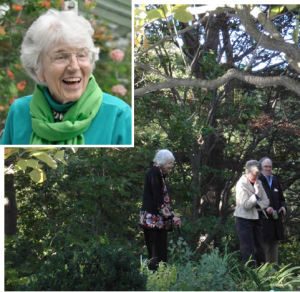 As host to the celebration of 35 Years of Stewardship at Hall's Pond Sanctuary, Nan conducted tours of the wonderful gardens she had nurtured on her property, near Sargent Pond. Photo Credit: Ellen Forrester