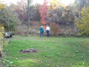 This photo shows a new patch of grass that we planted in fall 2015. The pond is in the background. Two volunteers are in the picture: Fran Givelber and Priscilla Smith. A good deal of volunteer effort went into clearing the ground in preparation for seeding.