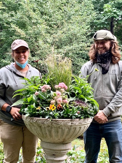 Thank you to Faith Michaels, faithfulflowers.net, for donating fall plants for the Hall's Pond formal garden, and to her crew members Lorena and Thor for the their expert planting.